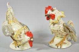 A Pair of Late 19th Century German Ceramic Studies of Fighting Cocks, 18cm high