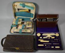 A Cased Vintage Manicure Set, Crocodile Skin Handbag c.1928, Leather Cased Gents Travelling Set