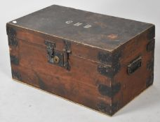 A Vintage School Tuck Box, Monogrammed GHB, with Metal Mounts, 55.5cm wide
