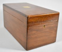 A Late 19th Century Mahogany Work Box with Brass Inlaid Escutcheon Containing Various Vintage