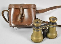 A Pair of Leather Cased Late 19th/Early 20th Century Brass Opera Glasses