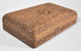 """A Mid 20th Century Intricately Carved Wooden Indian Cigarette Box Inscribed, """"To My Dear Mother With"""