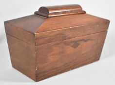 A 19th Century Style Shaped Two Division Tea Caddy with Hinged Lid and Complete with Galleon Tea