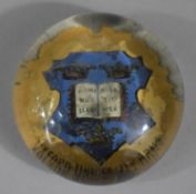 A Small 'Oxford University Arms' Glass Paperweight, 5cm Diameter