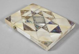 A Late 19th/Early 20th Century Mother of Pearl Card Case, 10cm high