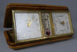 A Mid 20th Century Leather Cased Travel Clock with Thermometer and Barometer, 12cm wide
