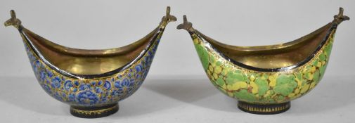 A Pair of North Indian Enamelled Boat Shaped Bowls with Bird Finials, Each 13.5cm long