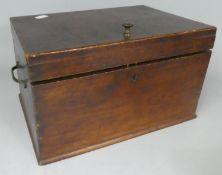 A Late Victorian/Edwardian Work Box with Three Inner Removable Fitted Trays and Two Carrying