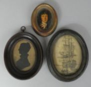 """A Collection of Three Framed Miniatures and Silhouettes to Include 19th Century Silhouette of """"Mrs"""