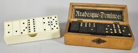 A Bakelite Cased Set of Bakelite 6 spot Dominoes and a Wooden Box Containing Six Spot Dominoes