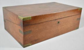 A Late 19th Century Brass Inlaid Flame Mahogany Writing Slope with Hinged Lid to Fitted Interior,