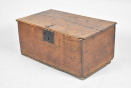 An Early Welsh Oak Bible Box with Iron Lock Plate and Hinges, Inner Candle Store, 63cm wide