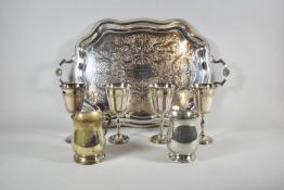 """A Presentation Silver Plated Tray. """"To D/Assistant Commissioner HW Hudson OBE on His Retirement, 9th"""