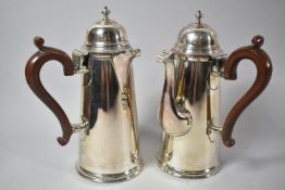 A Near Pair of Silver Plated Side Pouring Chocolate Pots, One with Hinged Cover to Spout, 21.5cm