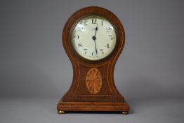 An Edwardian Inlaid Oak Balloon Shaped Mantle Clock with Replacement Battery Movement, 21cm high