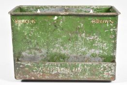 An Edwardian Green Painted Rectangular Metal Shoe Cleaning Box Inscribed Black & Brown, 28cm Wide