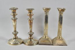 A Pair of Silver Plated Corinthian Column Candlesticks on Stepped Square Bases, 25.5cm high,