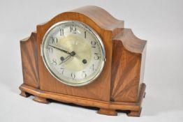 An Art Deco Walnut Mantle Clock with Sunburst Inlay, 33cm wide