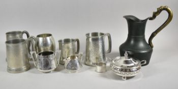 A Tray Containing Various Pewter and Silver Plated Tankards, Sugar Bowl, Cream Jug Together with a