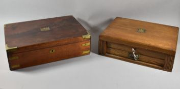 A Late 19th Century Brass Mounted Mahogany Canteen Box Together with an Edwardian Oak Example