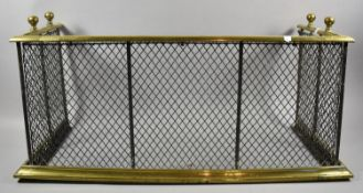A Late 19th Century Brass and Wire Fender, 70cm Long and 31cm High