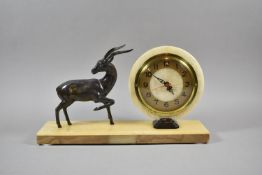 A French Blonde Marble Art Deco Mantle Clock of Circular Form, 18cm Diameter with Bronze Effect Deer