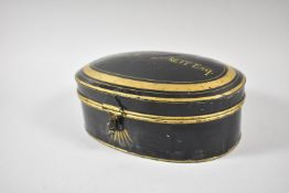 A Victorian Toleware Oval Wig Box with Gilt Decoration and the Hinged Lid Inscribed for E R