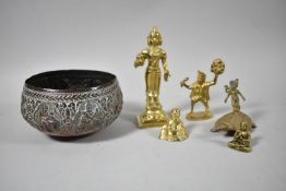 A Collection of Far Eastern, African and Indian Religious Figures and Bowl