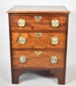 A 19th Century Mahogany Chest of Small Proportions Having Three Drawers with Brass Circular Drop