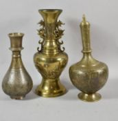 Two North Indian/Persian Metal Vases with Islamic and Hindu Decoration Together with a Larger