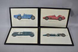A Set of Four Framed Vintage Car Prints, Each 31cm Long