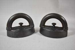 A Pair of Coalbrookdale Cast Iron Flatirons, 15.5cm Long