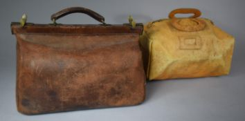 A Late 19th Century Brass Mounted Leather Doctor's Bag, 41cm wide Together with a Vintage Ladies