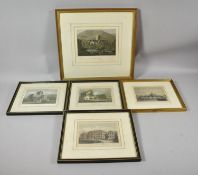 A Collection of Five Various Coloured Engravings Depicting Various Churches, Birmingham Hospital,