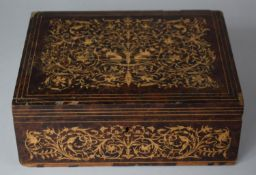 A 19th Century Italian Sorrento Inlaid Burr Wood Box Decorated In the Second Empire Style, 24cm Wide