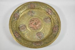 A Chinese Mixed Metal Temple Offertory Plate Decorated with Copper Rosettes Depicting Dragon and