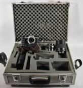 A Fitted En-gee Flight Case Containing Pentax ME Super 35mm Camera and Three Lenses