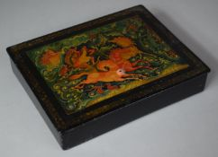 """A Russian Rectangular Lacquered Box Depicting Russian Fairytale, """"The Three Horses"""", Damage to"""
