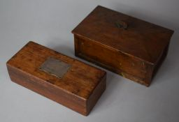 A 19th Century Mahogany Pen Box with White Metal Escutcheon Engraved with Rampant Lion Together with