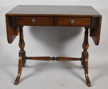 A Reproduction Drop Leaf Mahogany Occasional Table with Two Long Drawers, 84cm wide When Closed