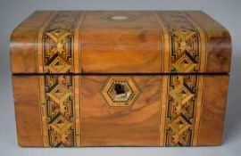 A Continental Banded Inlay Walnut Work Box with Removable Tray, In Need of Restoration and Attention
