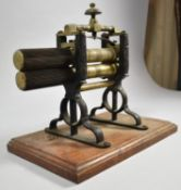 A Late 19th Century Brass and Iron Crimping Iron for Collars and Cuffs on Rectangular Wooden Plinth,