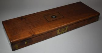 """A Vintage Mahogany Shotgun Case with Armorial Inlaid Disk Depicting Lion Rampant and inscribed """""""