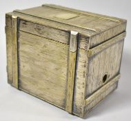 An Interesting Silver Plated Novelty Cigar Box in the Form of a Packing Case with Hinged Lid to