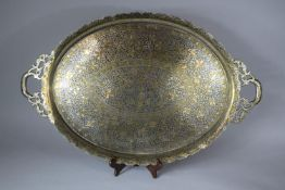 A Large Niello Ware Two Handled Rectangular Tray with Wavy Rim, 80cm wide