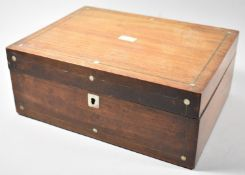 A Late 19th Century Mother of Pearl Inlaid Mahogany Work Box, 30cm wide