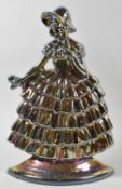 A Vintage Cast Metal Iridescent Enamelled Fire Companion Stand in the Form of a Crinoline Lady, 38cm