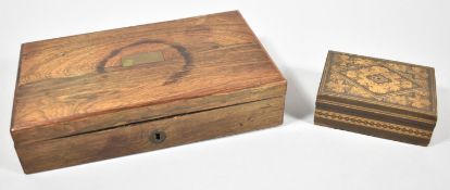 A Late 19th Century Rosewood Rectangular Box and a Small Rectangular Tunbridge Ware Box, 21cm and