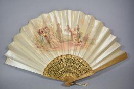 A Continental Silk Fan, Signed, 34.5cm Long