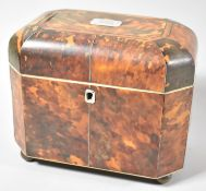 A Regency Tortoiseshell Tea Caddy with Silver Escutcheon Monogrammed J H W to Hinged Lid Giving